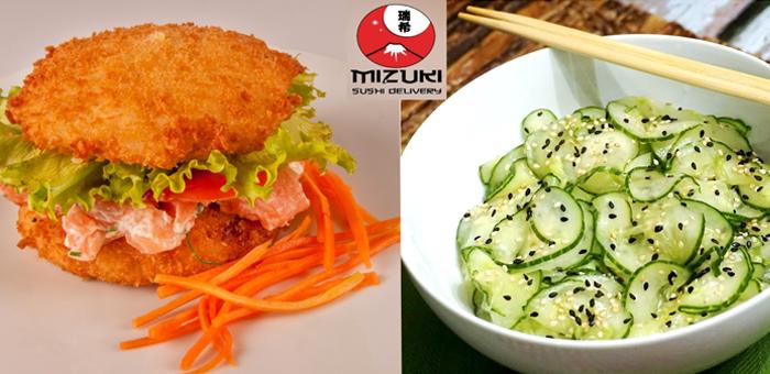 Sushi Burguer Filadélfia + Salada Sunomono no Mizuki! - Mizuki Sushi Delivery