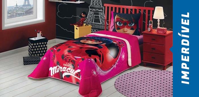 Edredom Ladybug Miraculous Solteiro Com Fronha - JM Casa & Lazer