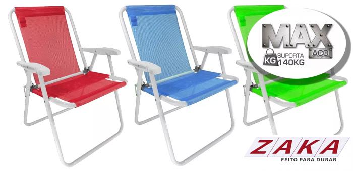 Cadeira de Praia Aço Até 140Kg Zaka - JM Casa & Lazer