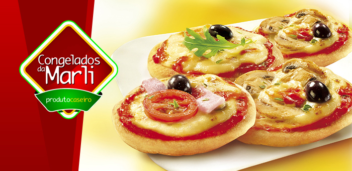 Mini Pizzas Congeladas (Bandeja com 25 unidades)! - Congelados da Marli