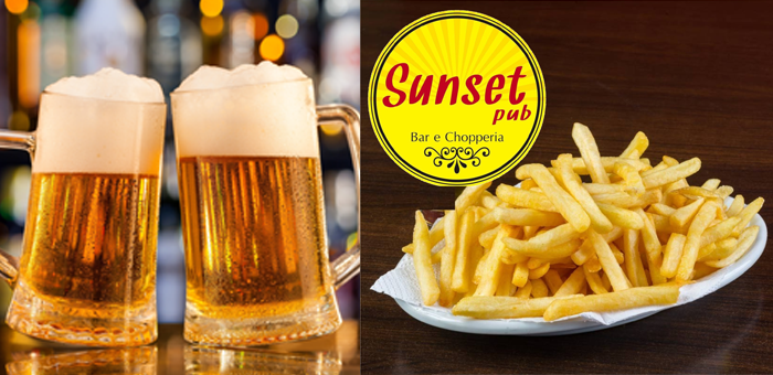 1 Porção de Fritas(aprox. 400g) + 2 Chopes (400ml uni.) - Choperia Sunset